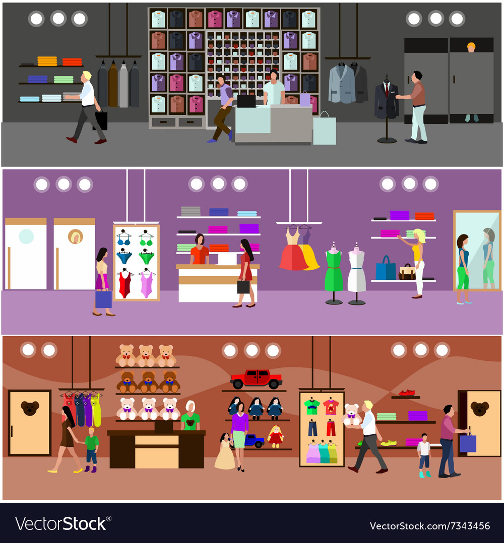 People shopping in a mall concept store interior vector