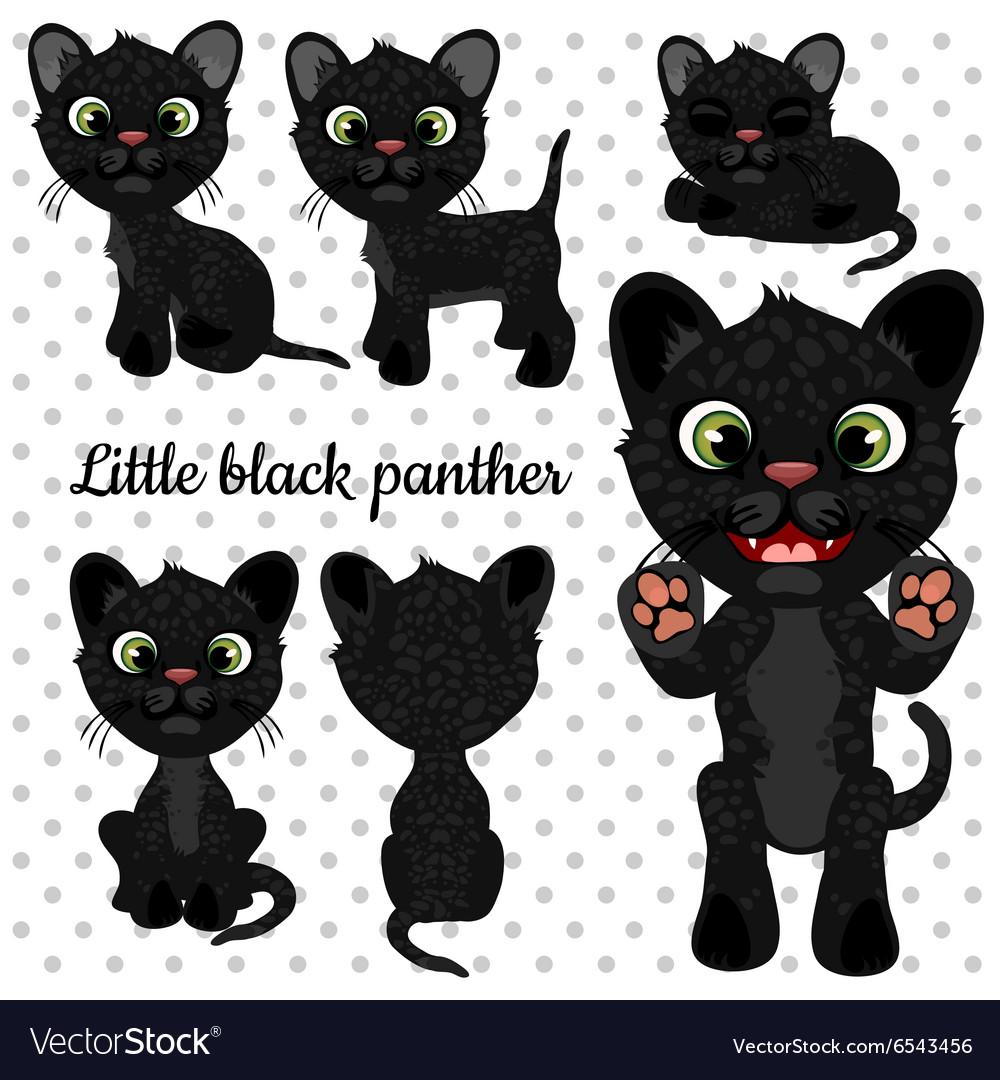 Set of emotions panther on a white background vector