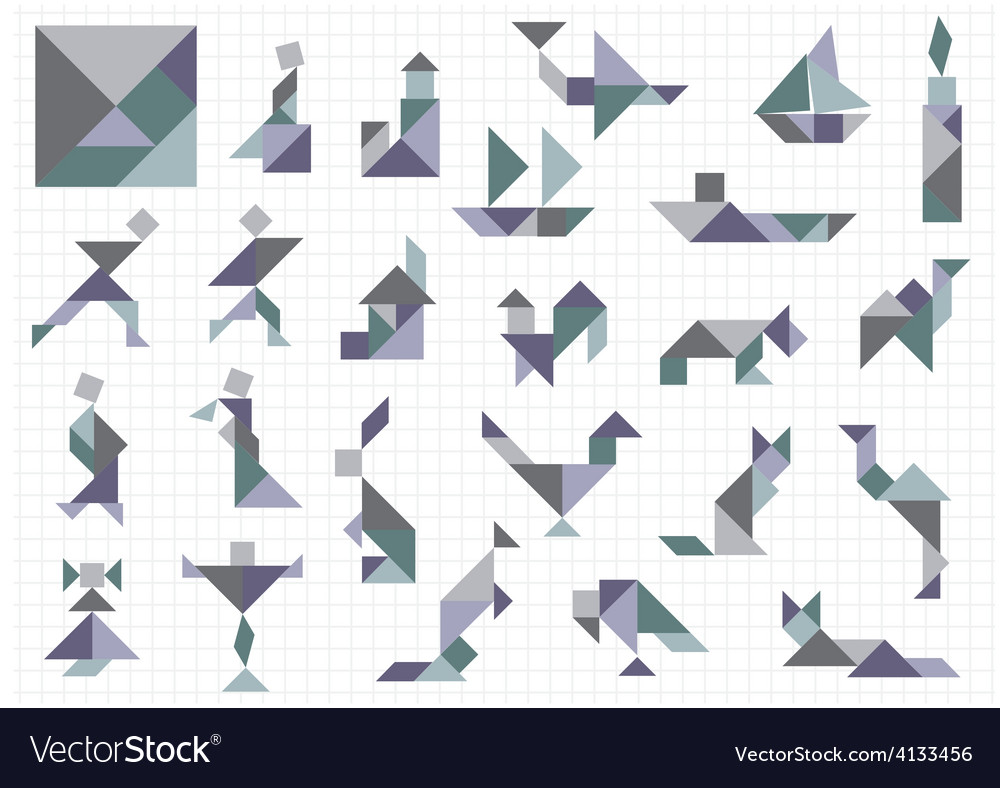 Tangram objects vector