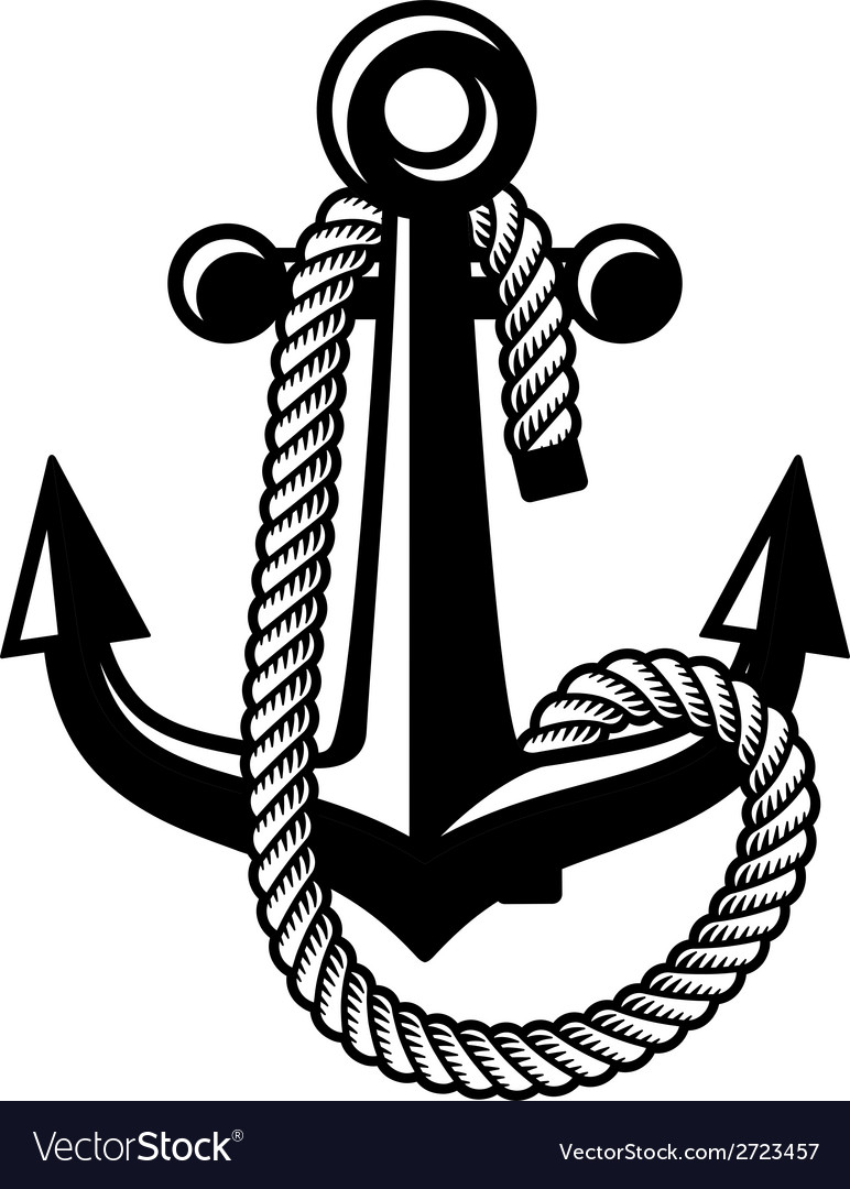 Anchor with rope black symbol vector
