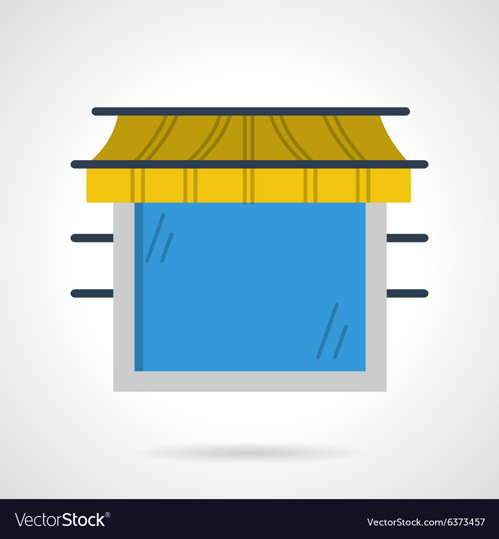 Storefront window flat color icon vector