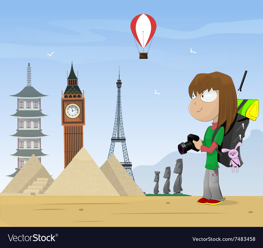 Girl travels the world vector