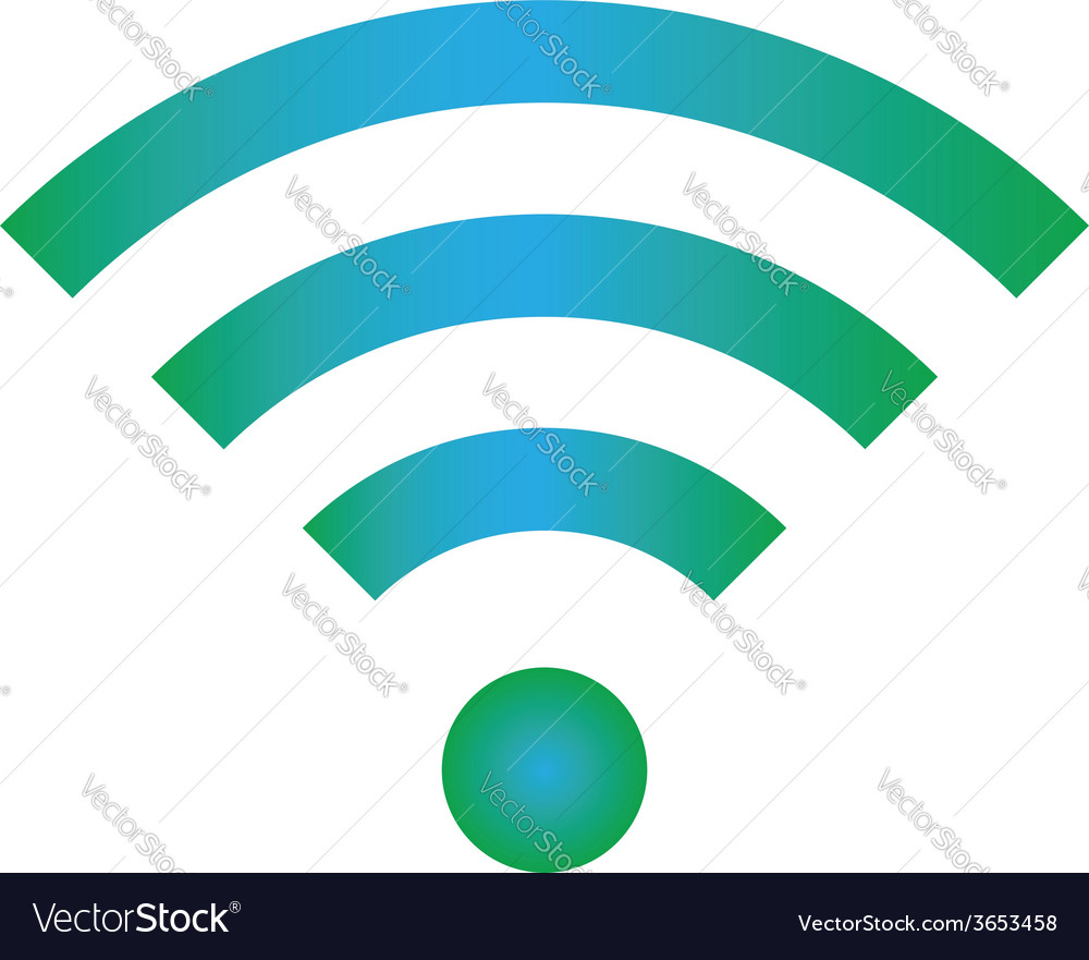 Wifi icon blue green color vector