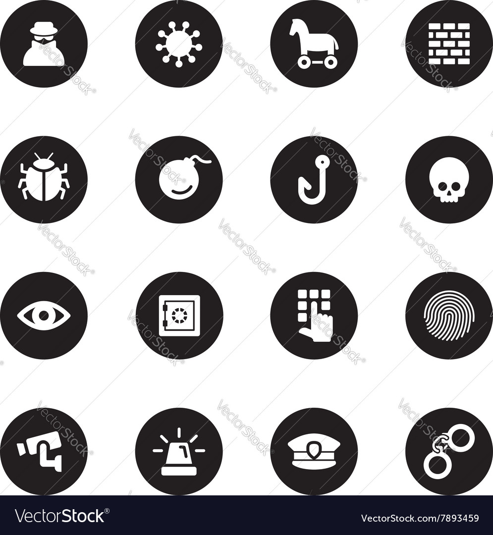Black flat security icon set vector