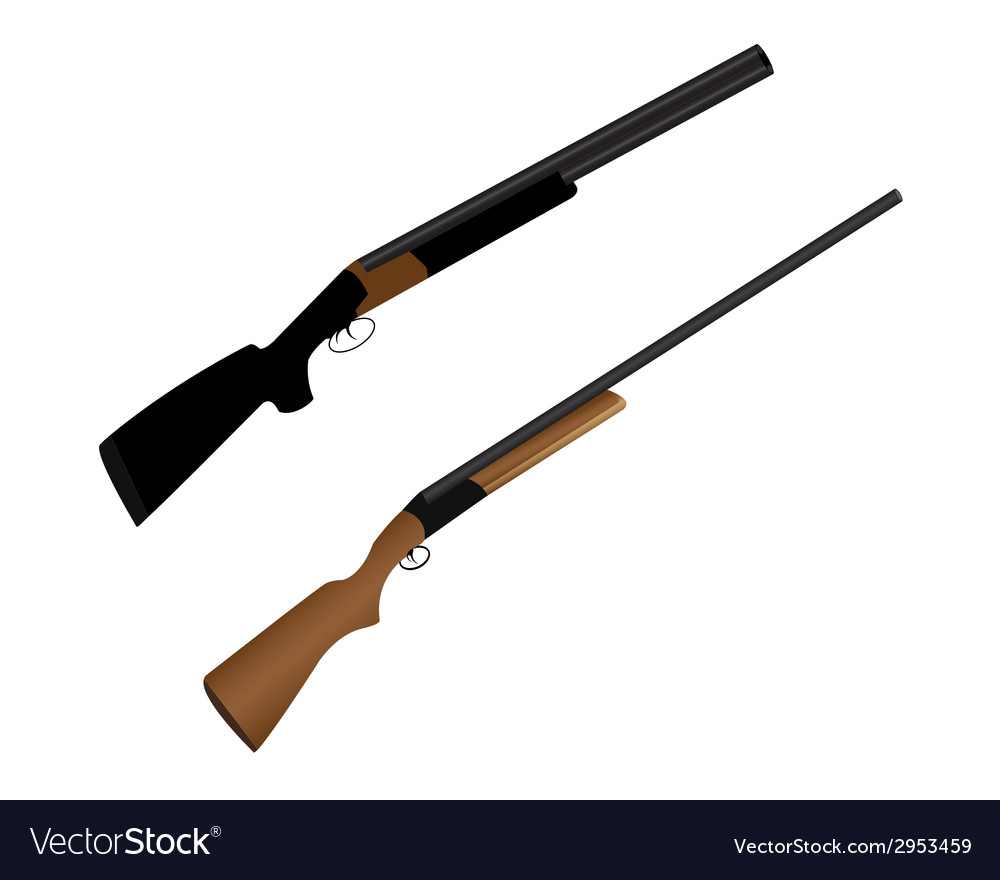 Two guns for hunting vector