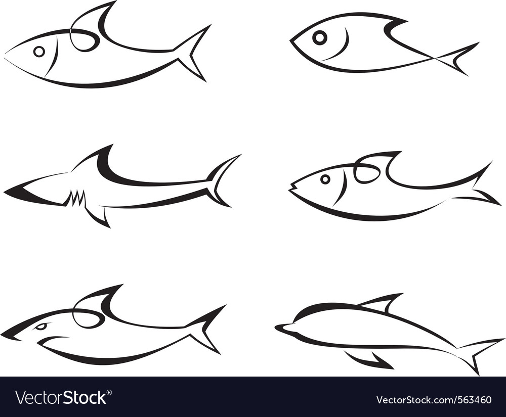 Fish outlines vector