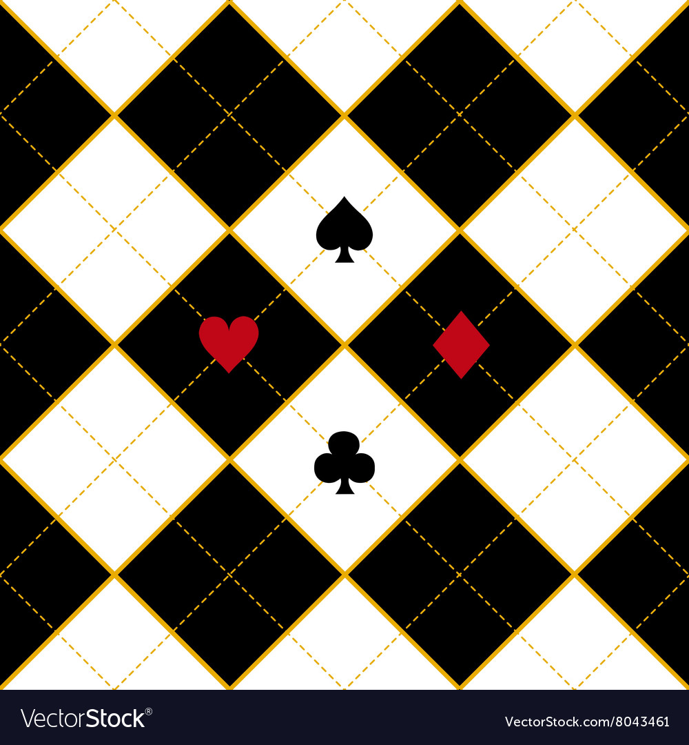 Card suits royal white black diamond background vector