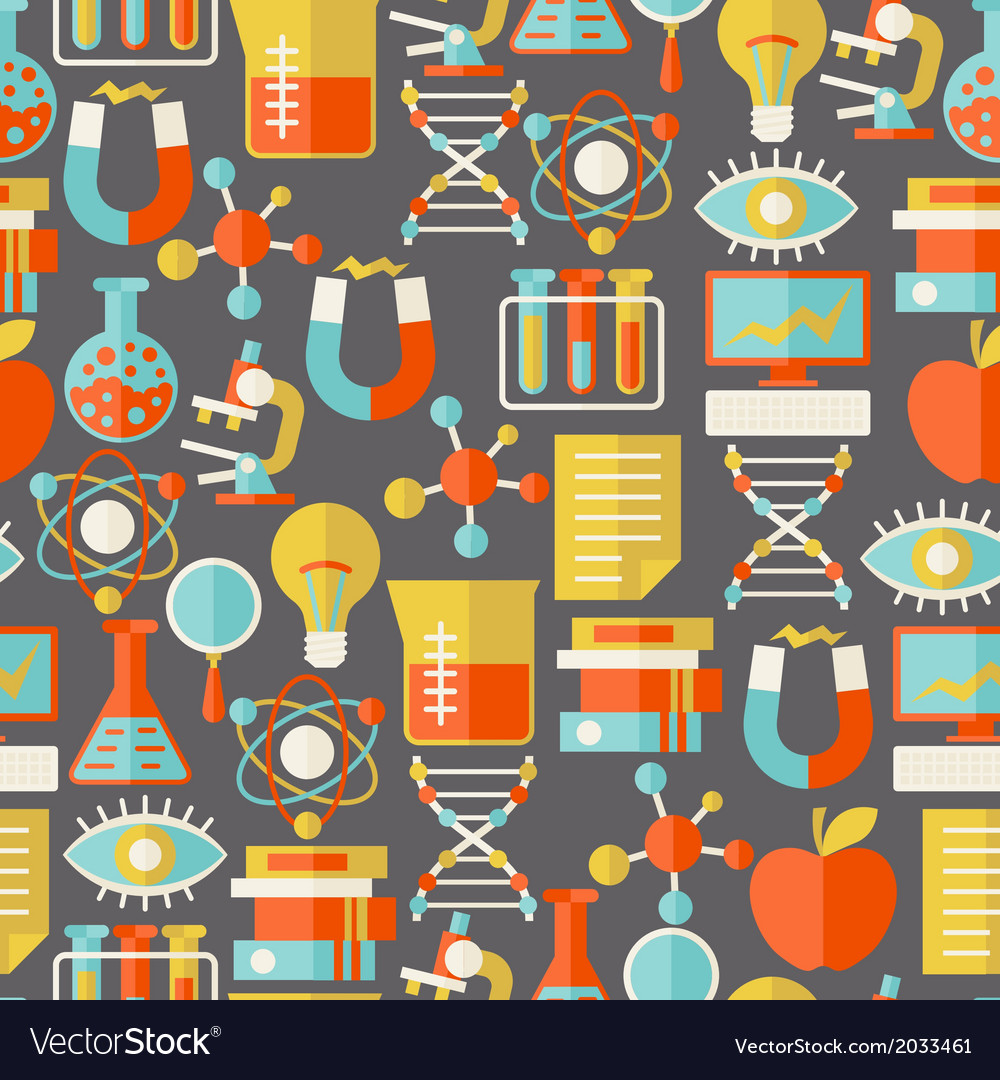 Science seamless pattern in flat design style vector