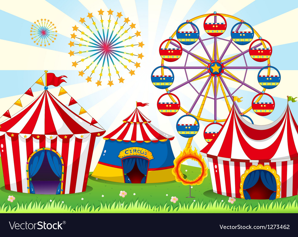 A carnival with stripe tents vector