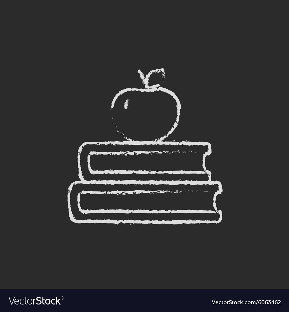 Books and apple on the top icon drawn in chalk vector