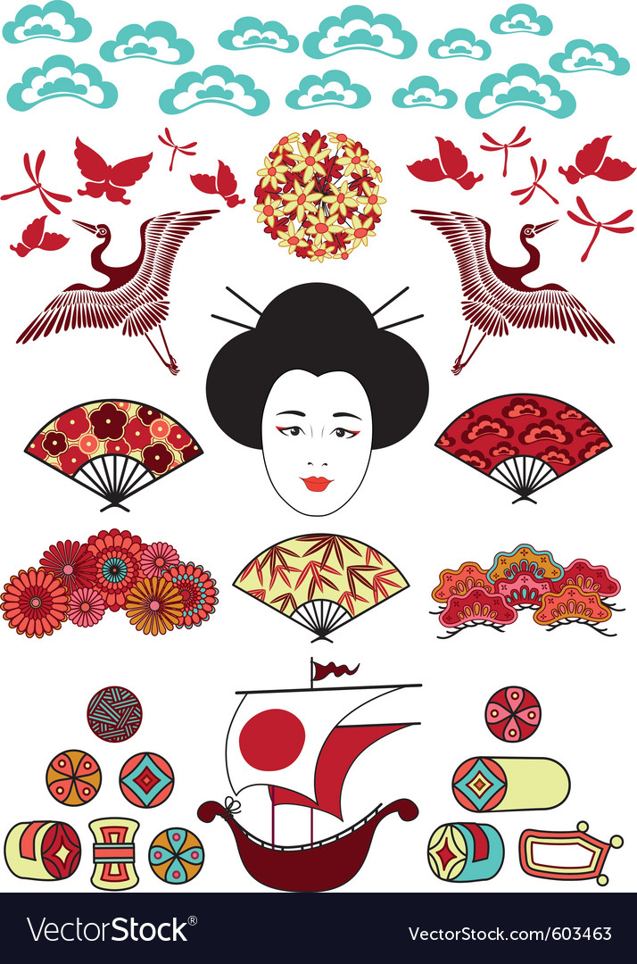 Ethnical japan elements vector