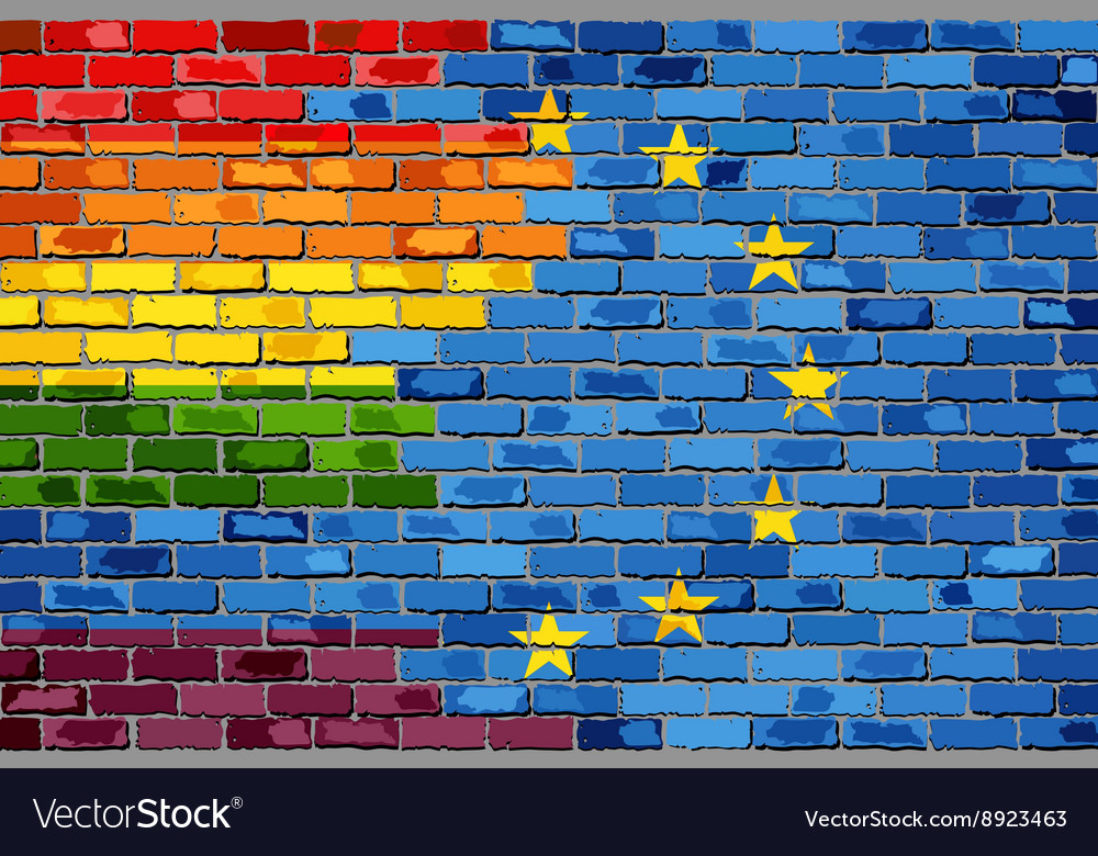 Flags of gay pride and the europe connected vector