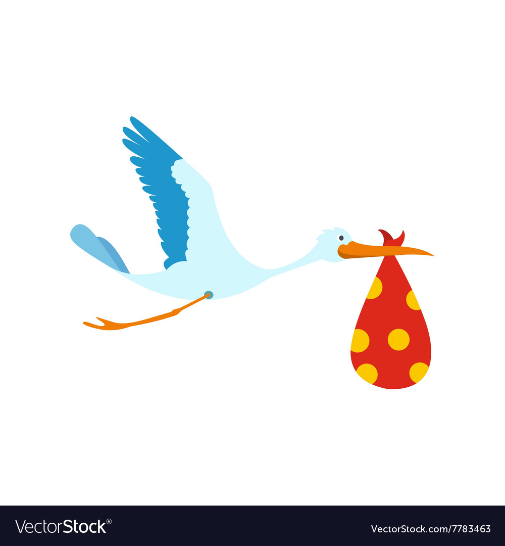 Flying stork with a bundle icon vector