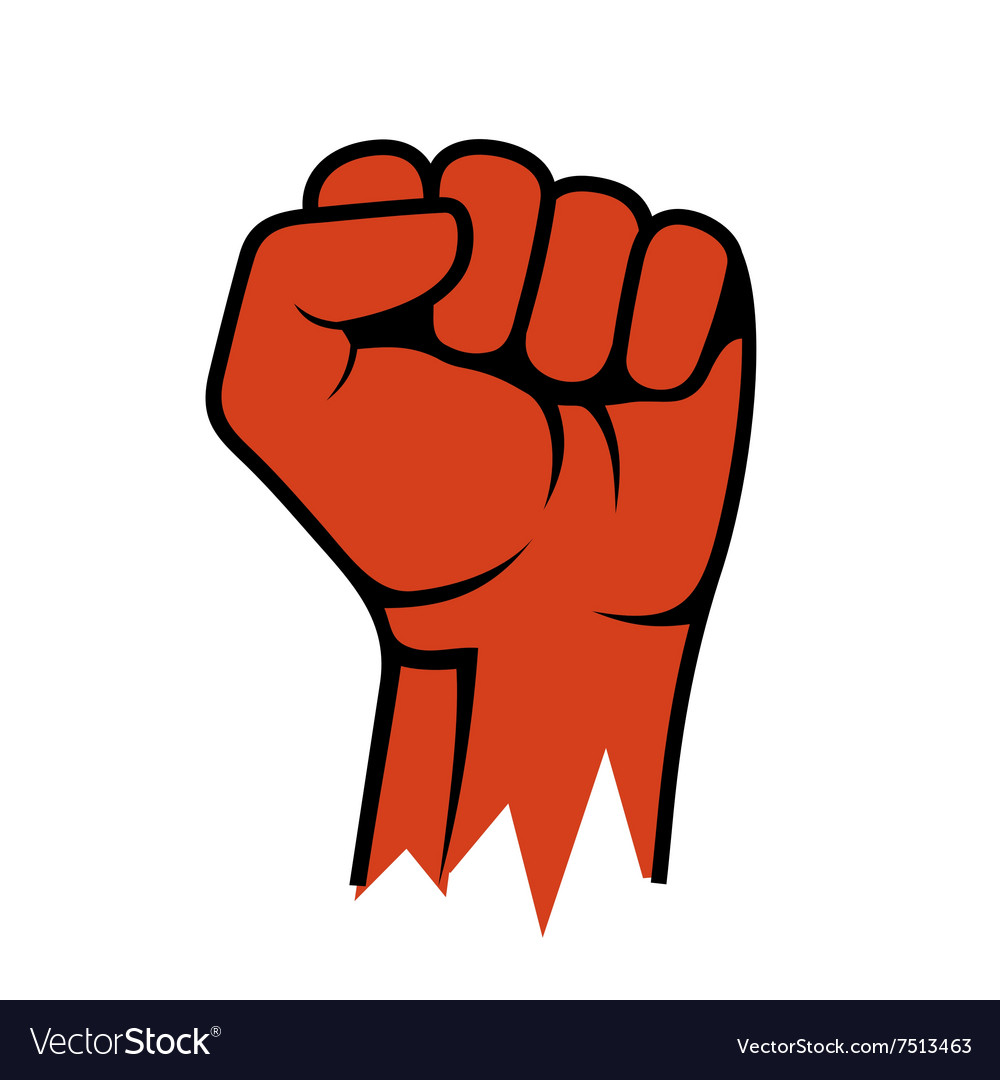 Raised fist icon hand protest strike fight vector