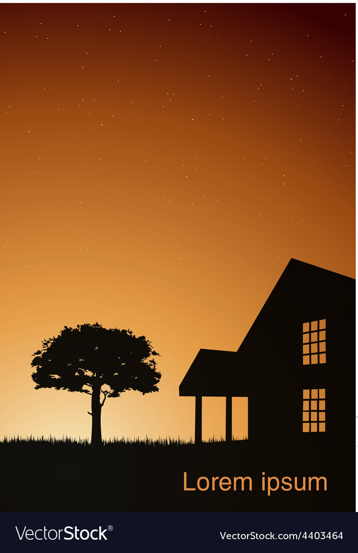 A house with a tree at sunset vector