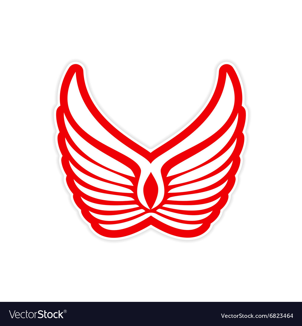 Sticker eagle wings logo vector