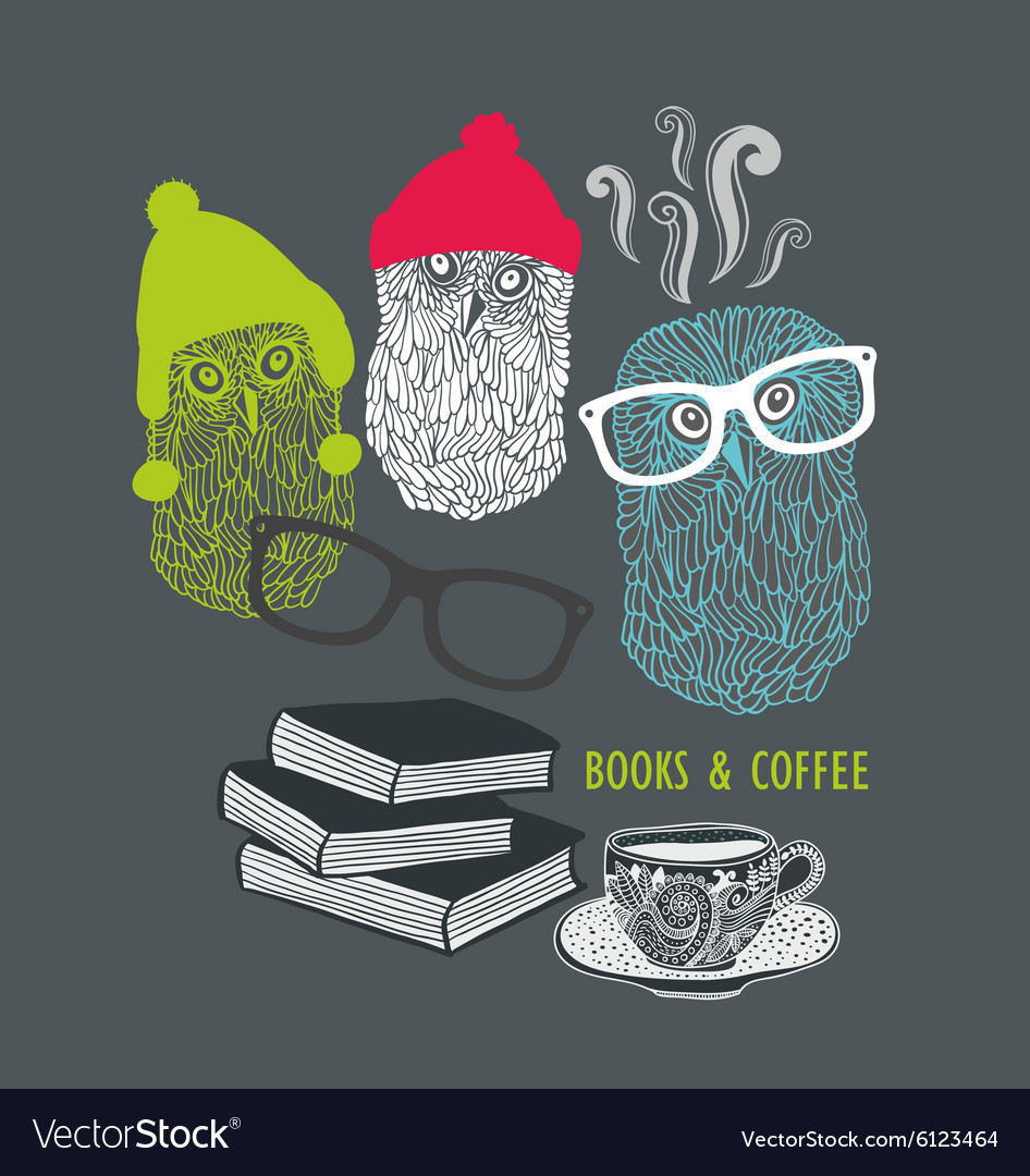 Three cute owls with books and cup of coffee vector