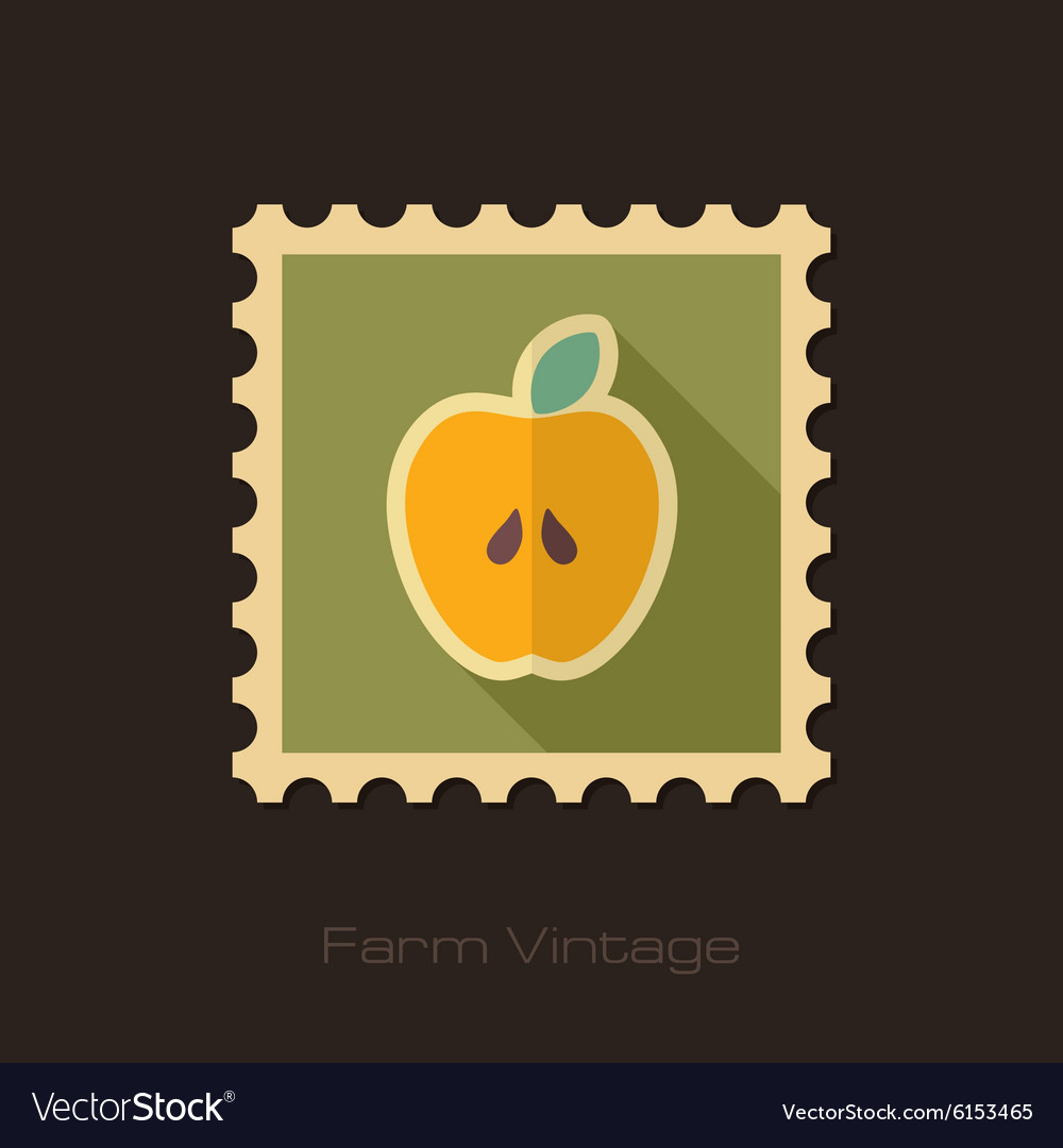 Apple retro flat stamp with long shadow vector