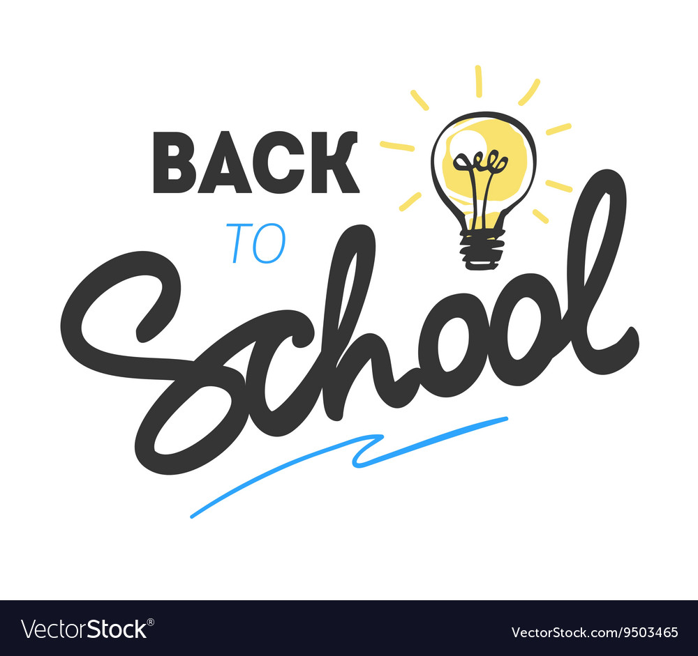 Back to school logo with light bulb vector