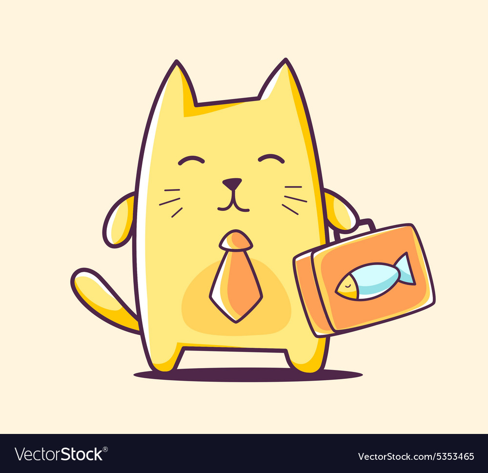 Color business character cat with briefca vector