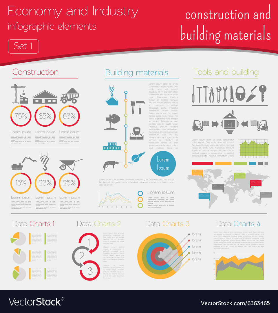 Economy and industry construction and building vector