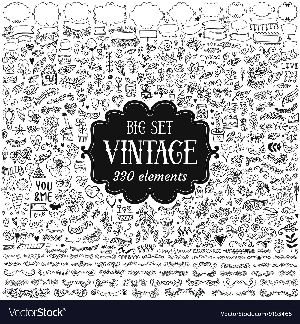 Big set of vintage elements vector