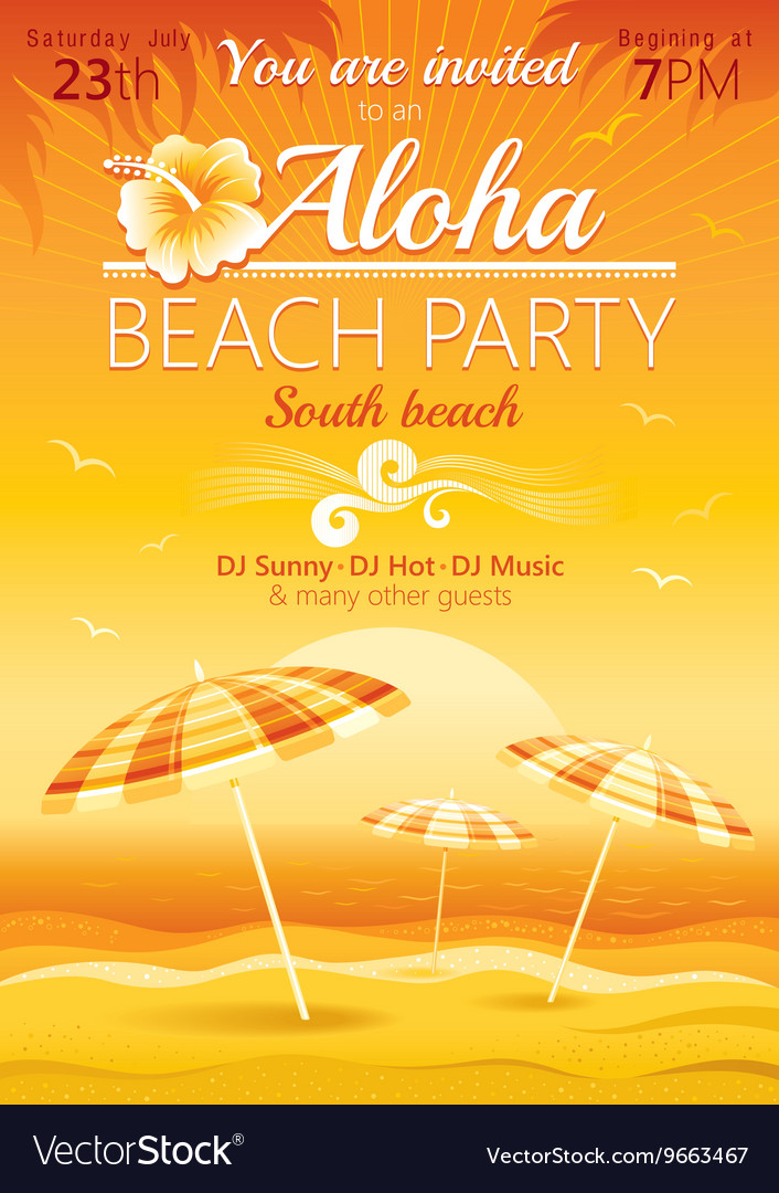 Aloha beach party background with umbrellas vector
