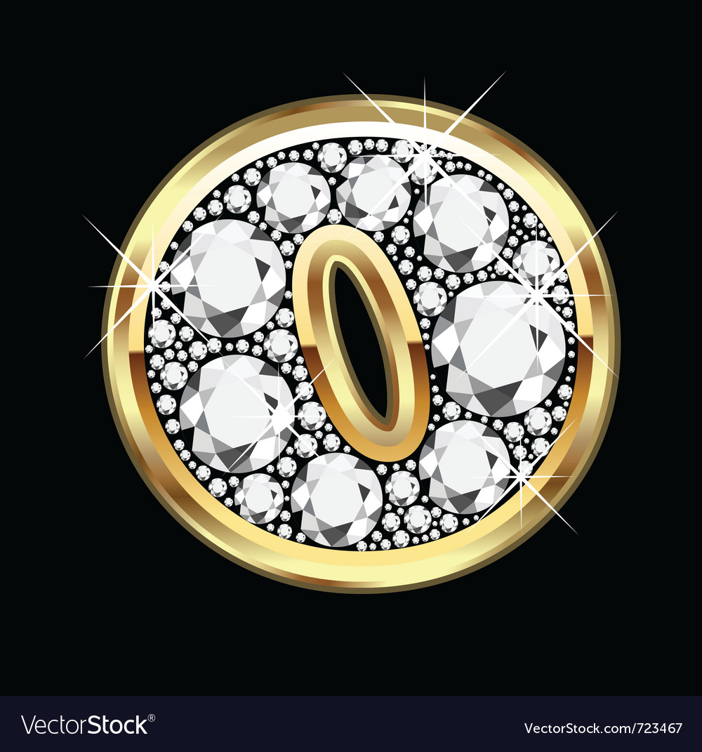 O gold and diamond bling vector