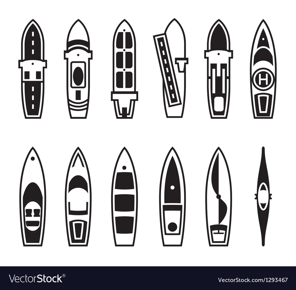 Sea ships and boats from above vector