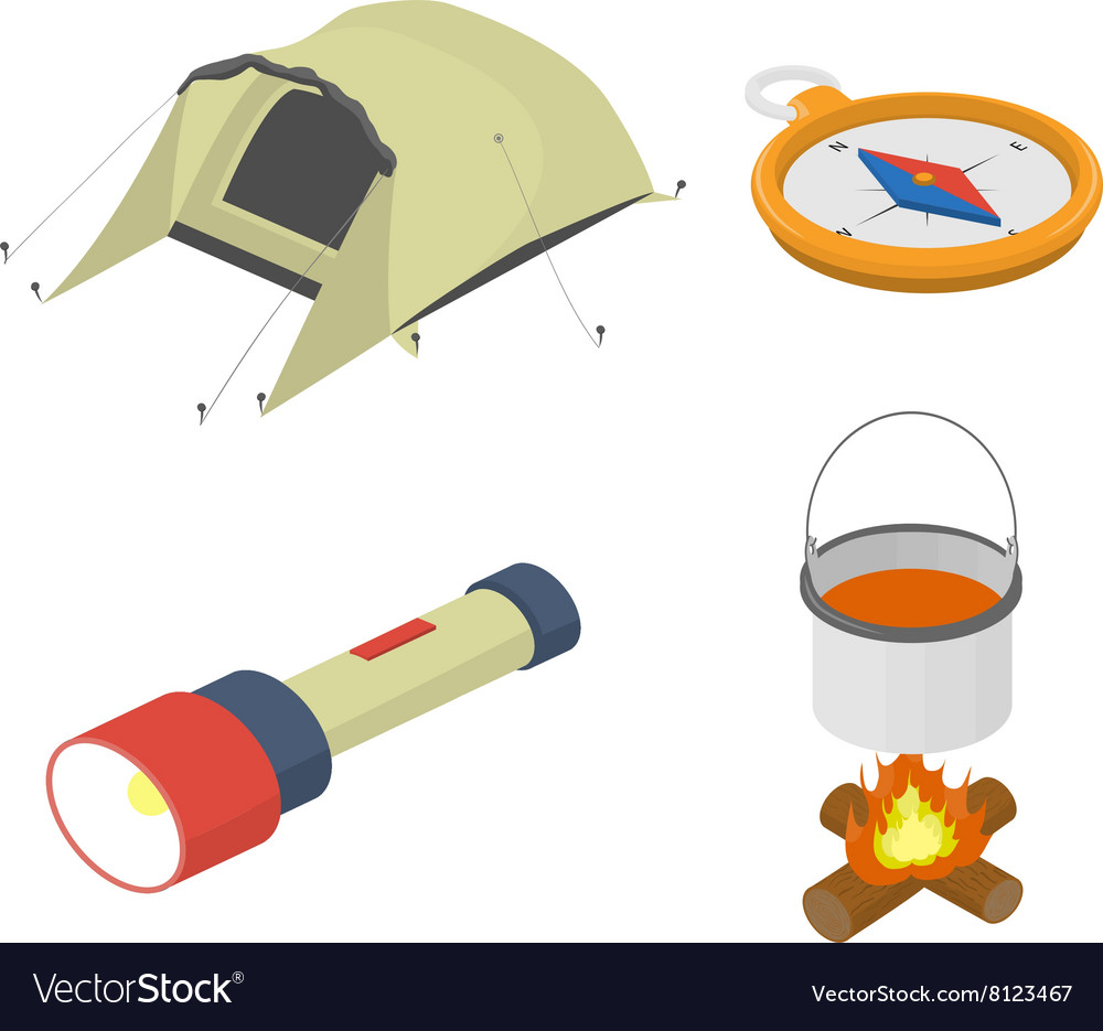 Set of objects on tourism travel isometric vector