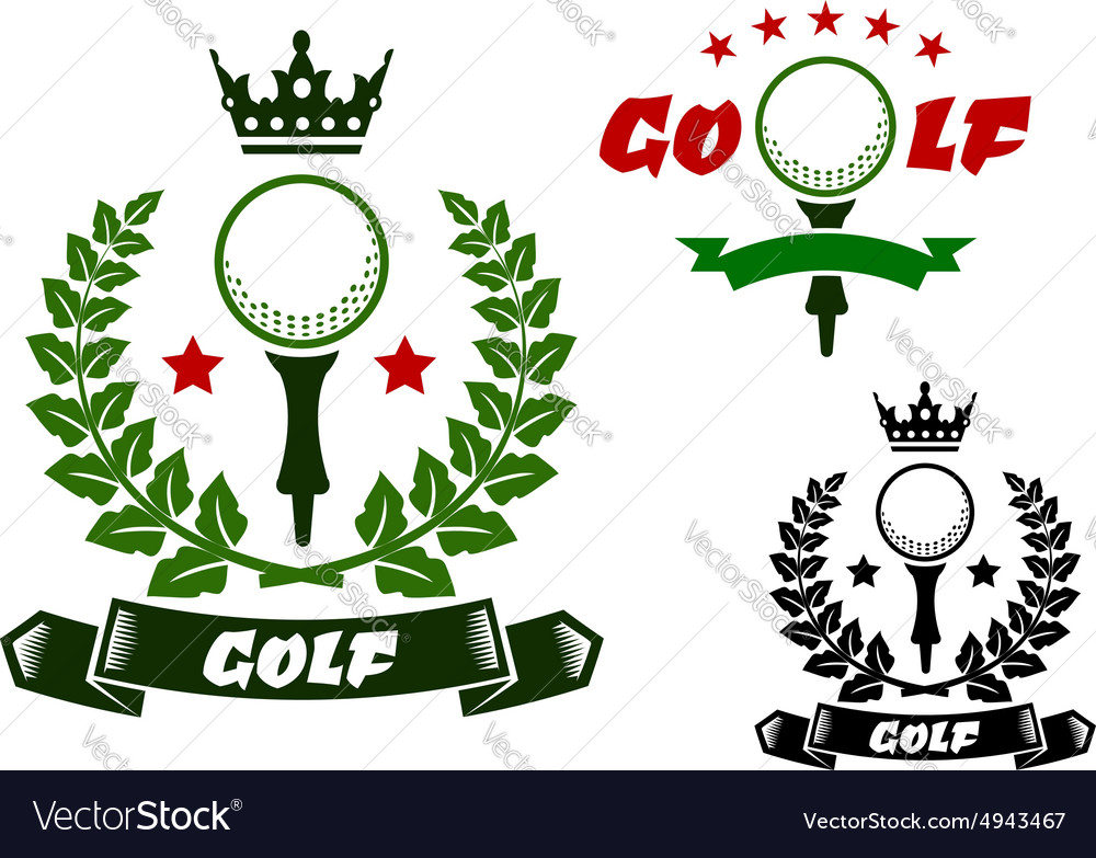 Sporting emblems with golf ball on tee vector