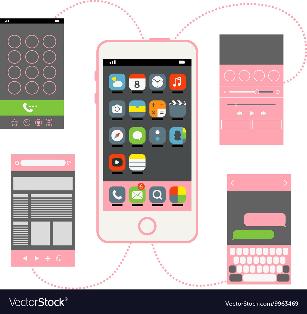 Modern smartphone with different interface vector