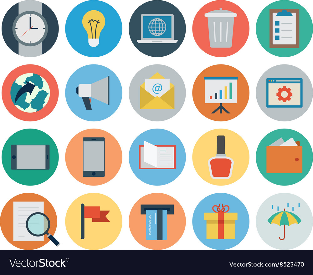 Flat shopping and commerce icons 2 vector