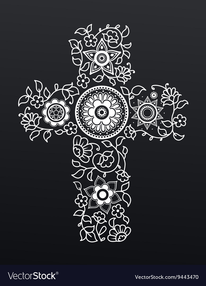 White floral christianity cross on black vector