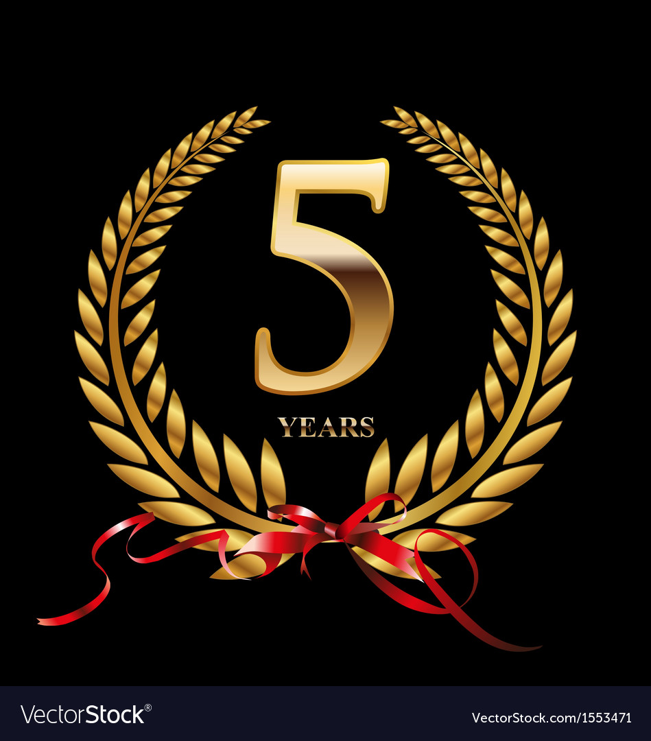 5 years anniversary laurel wreath vector