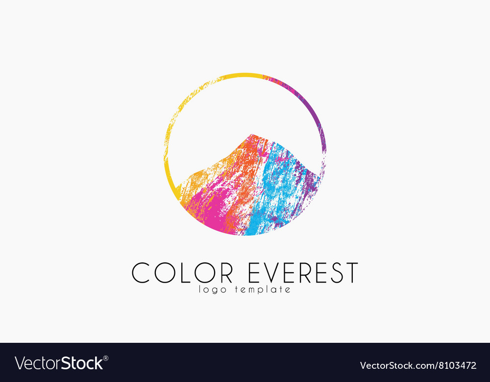 Everest logo color everest mountain logo color vector