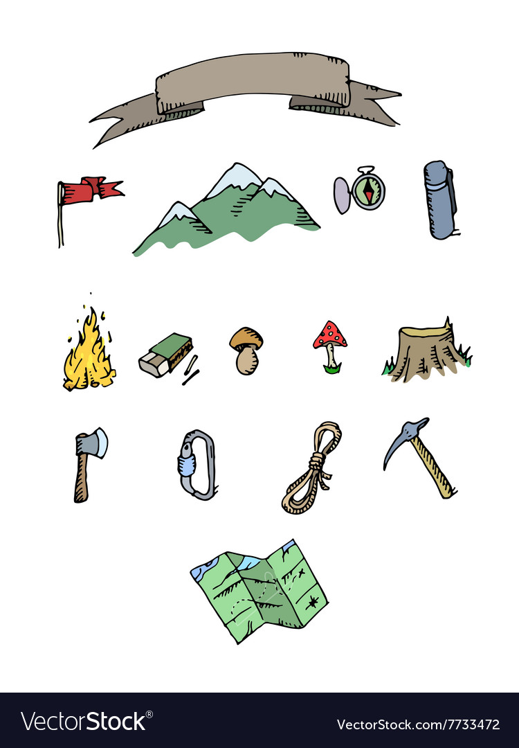Hand drawn colored camping adventure set doodle vector