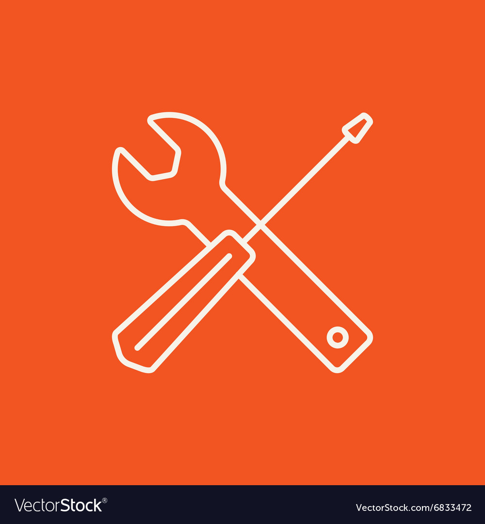 Screwdriver and wrench tools line icon vector