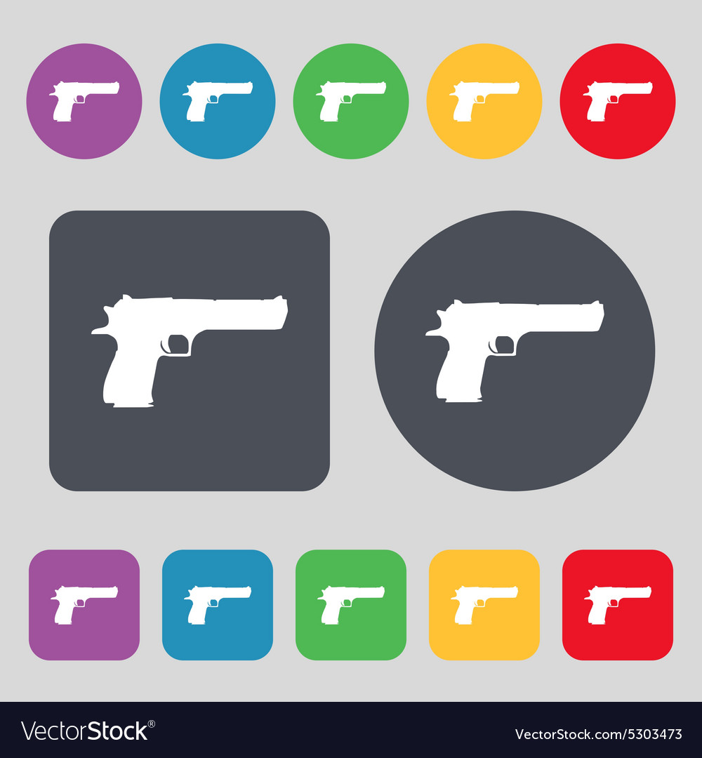 Gun icon sign a set of 12 colored buttons flat vector