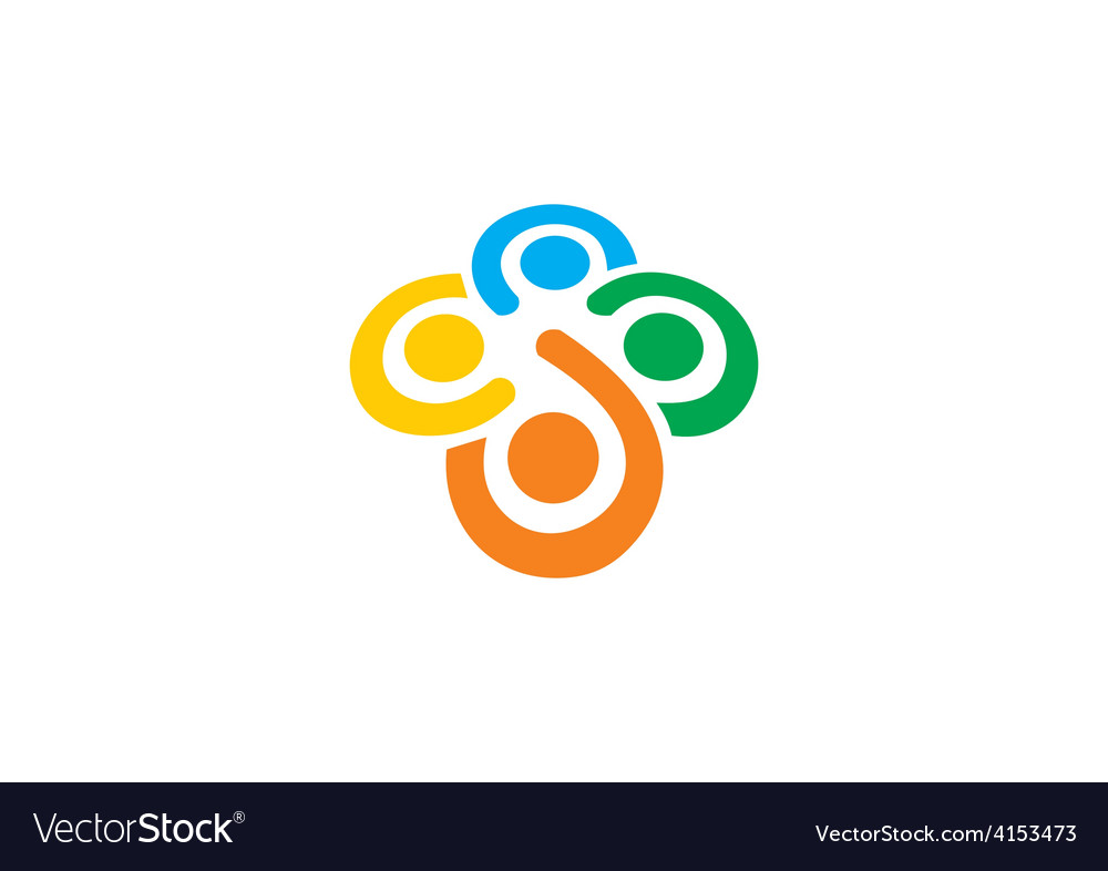 Teamwork diversity people circle logo vector