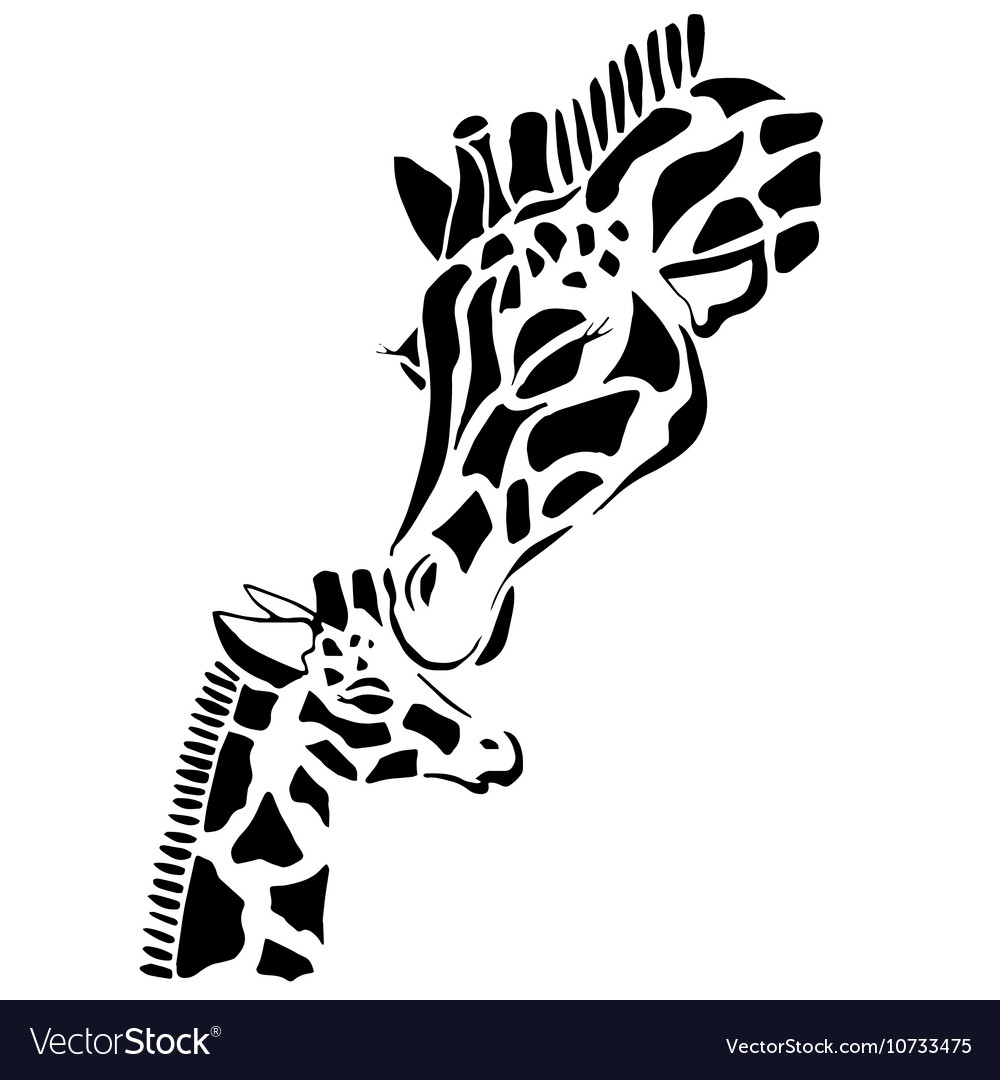 Cute giraffe family coloring vector