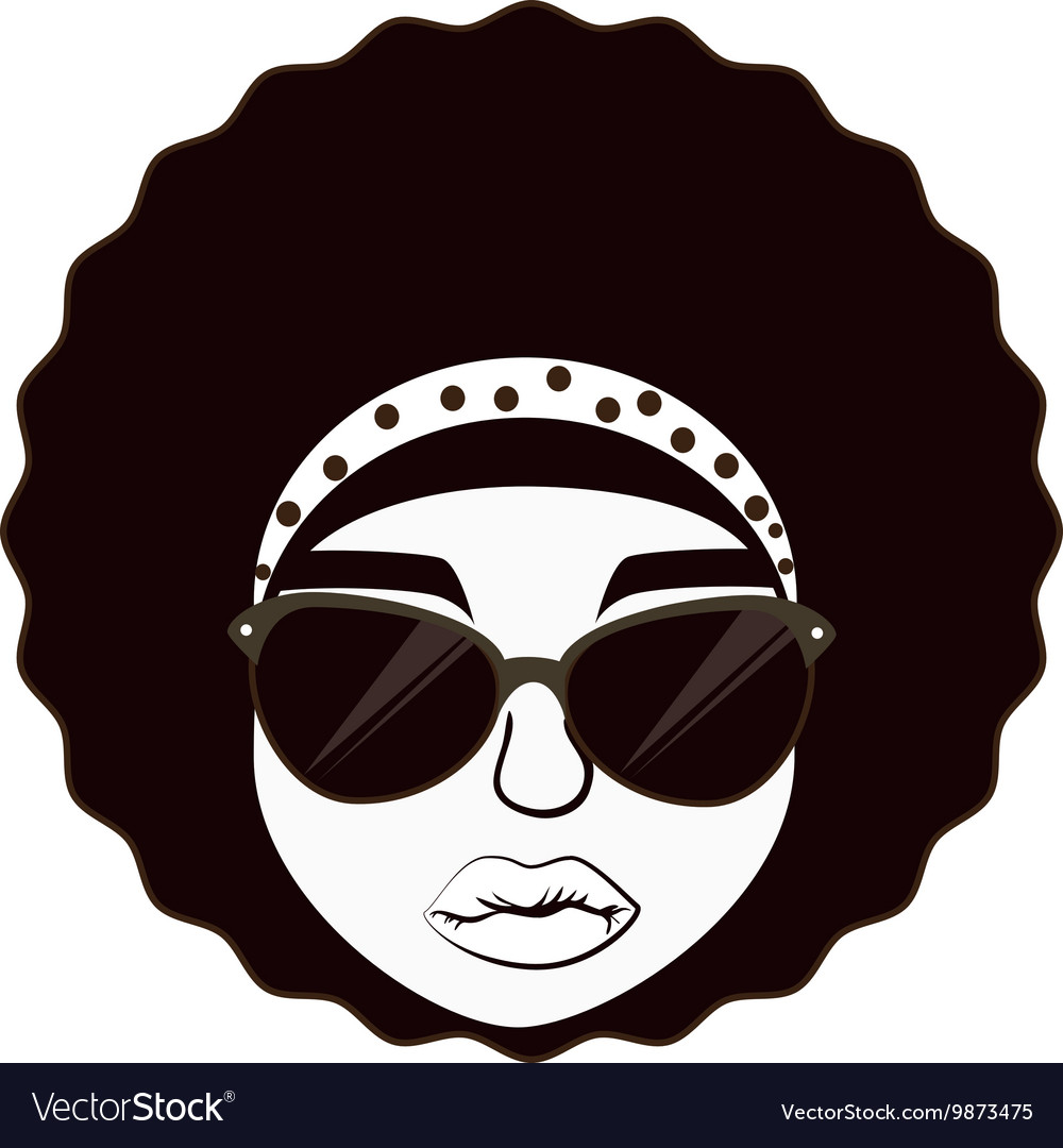 Hippie afro woman vector