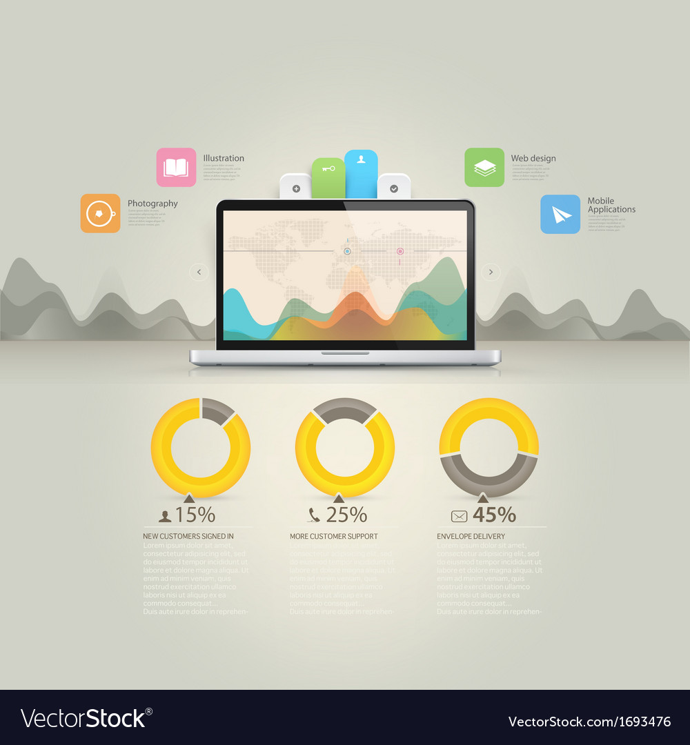 Infographics elements computer laptop notebook c vector
