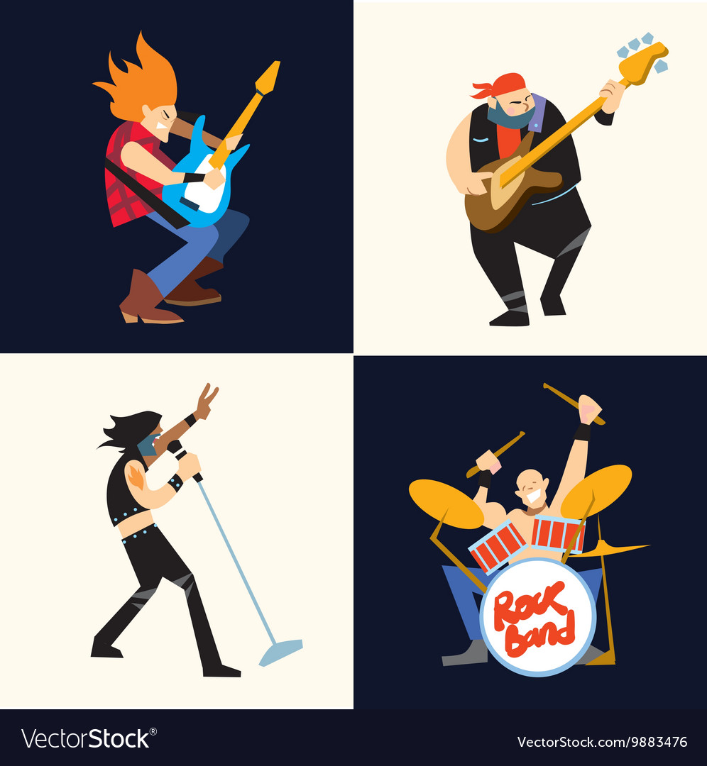 Rock band music group vector