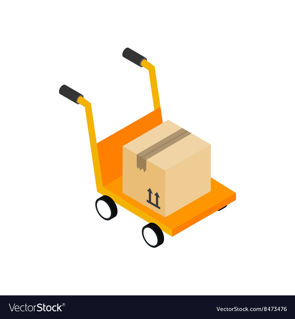 Yellow hand cart with cardboard box icon vector