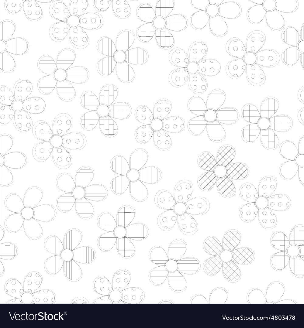 Black and white seamless pattern in flowers with vector