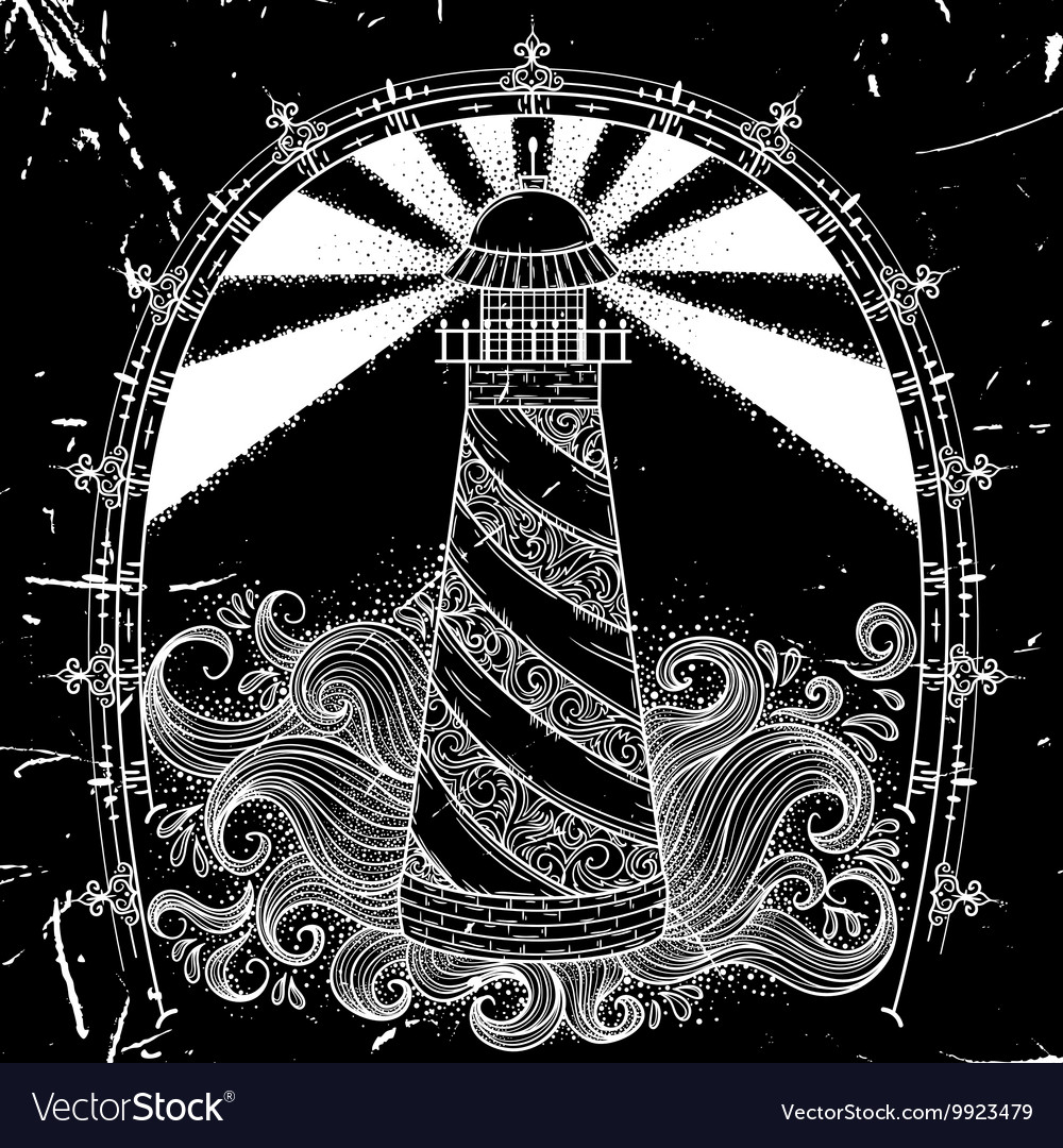Lighthouse with abstract waves vector