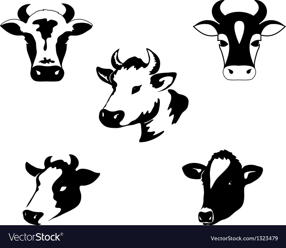 Set of icons with cow vector