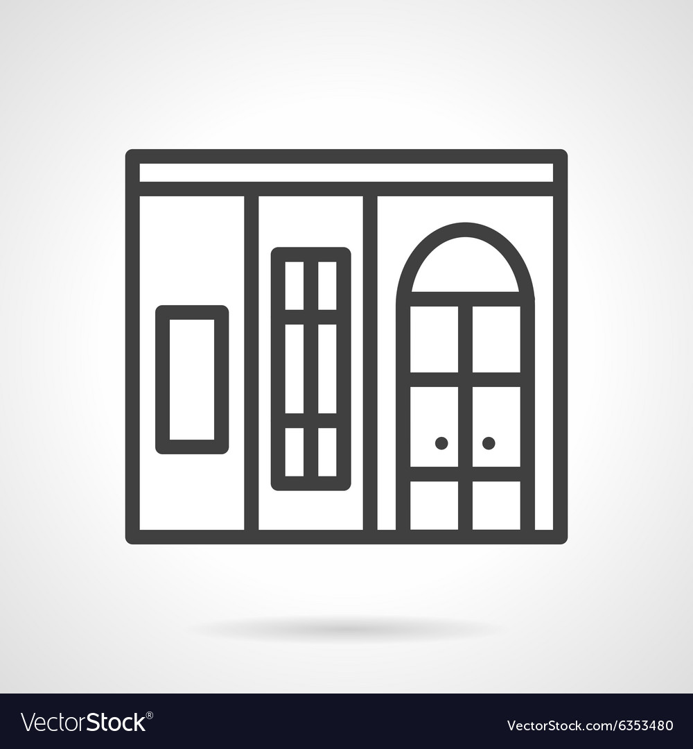 Shop window simple line icon vector