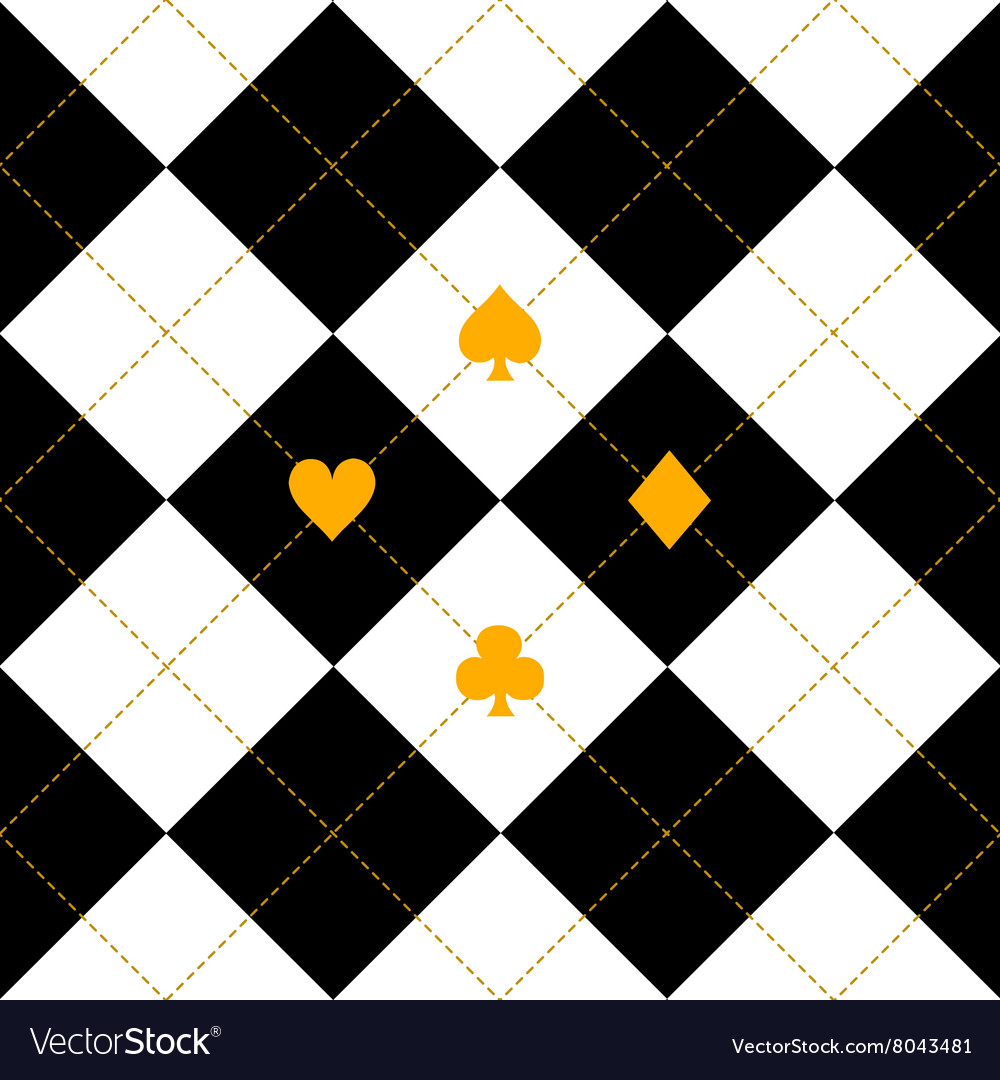 Card suits black royal white diamond background vector